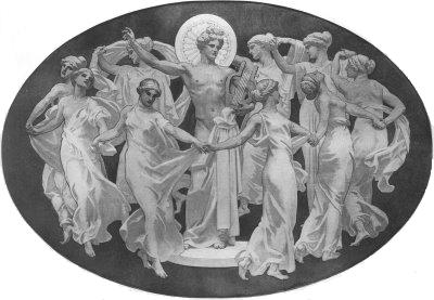 The Nine Muses dancing around their leader, Olympian God Apollo.
